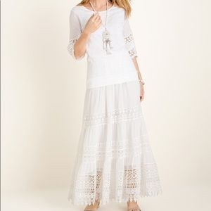 NWT Chico's White Lace maxi skirt size 8/10